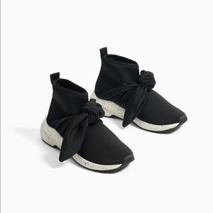 Zara High Top Sock Style Sneakers With Bow 33=2